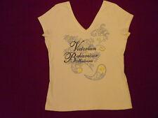 NEU! Madonna-vanille-gelbe Shirt m. glänzendem Schrift Baumwolle Gr.L(38-40).