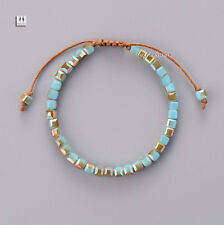 Turquoise Beaded Tila Friendship Stacking Bracelet Square Chakra Leather Pearl