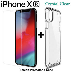 For Apple iPhone XR clear case cover and 4H anti-scratch front screen protector