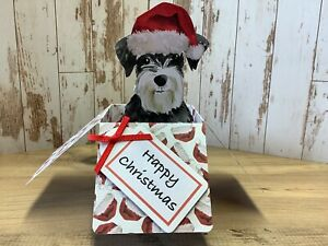Schnauzer Dog Christmas Pop Up Box Card, Handmade