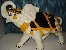 "ELEPHANT PORCELAIN OR CERAMIC LARGE FIGURE BEAUTIFUL 18 3/4"" L,12 1/2""T, 7"" W"