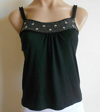 Size 10 M Black Beaded Stretch Singlet Style Cropped Party Tank Top BNWT