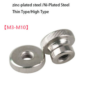 M3-M10 Nickel Plated Steel Knurled Thumb Nuts Thin/High Type Hand Turn Knobs