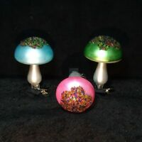 """3 pc lot Glass Christmas Ornaments Mushrooms clips clip-on 4"""" large Germany vtg"""