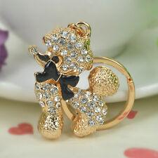 T Poodle Dog Keyring Rhinestone Crystal Pendant Bag Keychain Christmas Love Gift