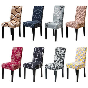 1/4/6pcs Spandex Dining Room Chair Cover Printed Chair Seat Slipcover Anti-dirty