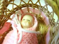 VINTAGE JOINTED CLOTH DOLL W. BISQUE HEAD/ARMS & HANDS/FEET & LEGS IN BASKET CRA