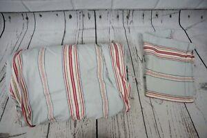 Pottery Barn Morrison Stripe Full/Queen Duvet Cover Blue Red Striped & 1 Sham