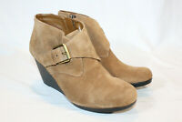 Isaac Mizrahi 8 medium brown Suede Ankle Boots with Buckle