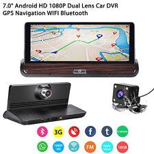 """7.0"""" Android HD 1080P Dual Lens Car DVR Dash Cam GPS Nav Rearview Camera Wifi UK"""