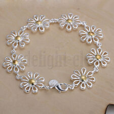 Women Cute Daisy Flower Chrysanthemum Shape Silver Plated Bracelet 22CM DE