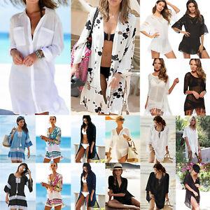 Womens Ladies Beach Bikini Cover Up Kaftan Mini Dress Loose Kimono Blouses Tops