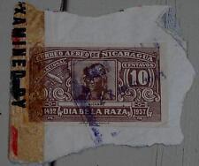 Nice Vintage Used Correo Aereo Nicaragua 10 Dia de la Raza Stamp, GOOD COND