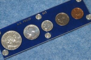 1957 United States Silver Gem Proof Set in Blue Capital Lucite E0577