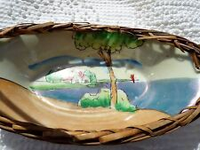 1940's Unmarked Made in Japan Hand Painted Candy Dish w/ Rattan Holder & Handle