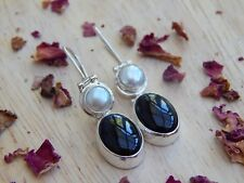 sterling silver pearl earrings with agate - monochrome
