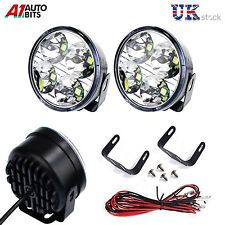 Pair / 2 Universal Car Van Bus Front LED Lights 12V Spot Fog Halogen Round Lamps