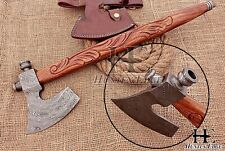 HUNTEX Custom Hand Forged Damascus 45cm Long Engrav Walnutwood Tomahawk Pipe Axe