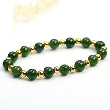 Authentic Grade A Jade (jadeite) 10mm Green Bead 3mm 24K Gold Bead Bracelet