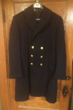 Long Navy Blue Peacoat Valley Forge Military Academy Gold Buttons Size 44 short.