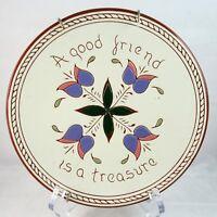 Sgraffito Redware Decorative Gift Plate Artist Signed Jody Pagden Cheltenham PA