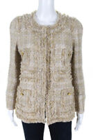 Edward Achour Womens Frayed Trim Woven Jacket Beige Size French 44