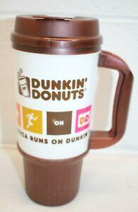 2014 Brown Dunkin Donuts Whirley Travel Handled Coffee Mug Cup Insulated 24 oz