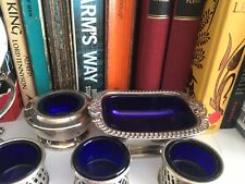 Selection Of Silver Plate Salt Cellars With Blue Inserts Pretty Lot