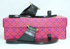 Tory Burch Black Brannan Flat Studded Leather Slide Sandals size 8.5