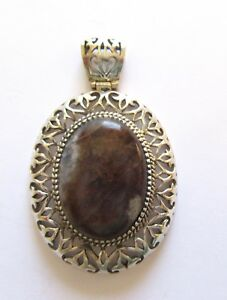 Sterling Silver Pendant - brown  gray natural stone-oval shape -Thailand 925