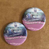 Walt Disney World Happily Ever After wedding engagement cinderella 2 buttons