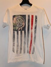 Civil Regime American Flag White Red Blue Short Sleeve Men's T-Shirt Sz L Used