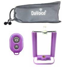 iPhone 8 7 6 X Tripod Mount Holder Bluetooth Remote Shutter Phone Stand - Purple
