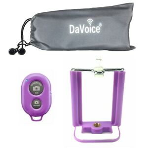 For Tripod, Cell Phone Tripod Adapter Bluetooth Remote Control Travel Bag Purple