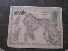 1863 ORIGINAL Large Map of Hindostan or British India, Viet Nam, Cambodia