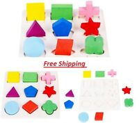 Kids Learning Shape Puzzle Toys Wooden Colorful Activity Education Play Gift Fun