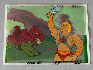 He-Man & Battle Cat - Original Animation Cell & Painted Background + COA