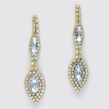 Clear gold tone diamante long dangly earrings sparkly rhinestone prom 0345