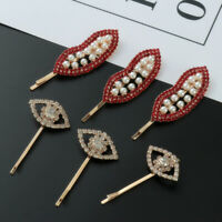 Party Eyes Barrettes Red Lip Hairpins Pearl Hair Clips Crystal Hairgrips