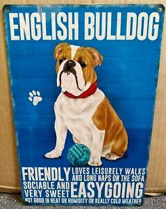 Englische Bulldogge 30.5cmX 20.3cm Medium Metall Schild Mit Figur Descriptions