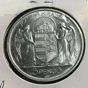 1943 HUNGARY 5 PENGO BRILLIANT UNCIRCULATED WW2 ALUMINUM COIN