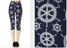Printed Capri Leggings Whip-Wheel Nautical Plus & Curvy One Size fits 12-22/24