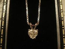 Exquisite .50CT Clear Sparkling Heart Cut Diamond Set 18CT Gold Pendant, & Chain