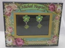 smal green flowers Earrings +Box Lovely Michal Negrin Swarovski Crystal