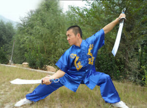 Kung Fu Tai Chi Uniform Martial Arts Suit Changquan Outfit Dragon Embroidery New