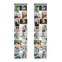 2x Fotovorhang 16 Fototaschen 10x15cm Fotohalter Bildervorhang Bilderrahmen