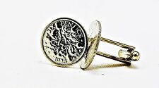Lucky Wedding Silver English King George V Sixpence Coin Cufflinks