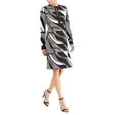 Ralph Lauren (N8226-74)  Printed Crepe Dress Black Creme Sz 16 $155