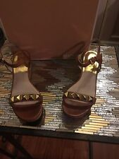 Michael Kors Persia Cork Wedge Sandal Luggage With Gold Studs 7.5