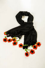 Donate Blind Cat Rescue - Black Chiffon Scarf with Hand Crochet Floral work
